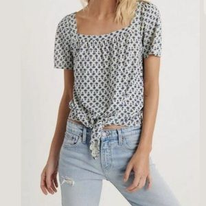 [Lucky Brand] NWT Printed Tie Front Top